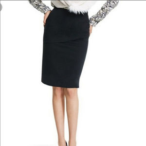 Cabi black pencil skirt with front ruffle